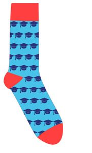 """These socks promote academic success. Vote for my """"Graduate"""" design and a portion of the procedes will go to the Kansas City Hispanic Scholarship Fund! Sock 101 Design Contest - Vote"""