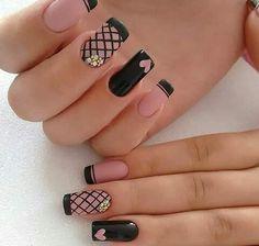 Acrylic Nails Natural, Cute Acrylic Nails, Cute Nails, Pretty Nails, Cute Nail Art Designs, Black Nail Designs, Black Nail Art, Black Nails, Matte Black