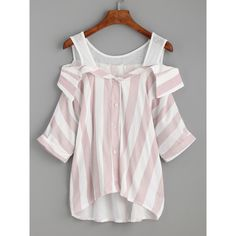 Pink Striped Contrast Open Shoulder High Low Blouse ($11) ❤ liked on Polyvore featuring tops, blouses, pink, cold shoulder blouse, open shoulder top, open shoulder blouse, short sleeve tops and cut out shoulder top