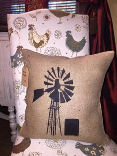 Old Country Windmill Burlap Pillow