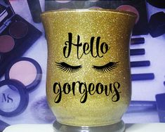 Hello Gorgeous Glass Makeup Brush Holder / by GlitterPerfectionUK