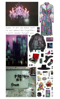 """Young girl or really strange woman diving in my punk rainbow: playing with me you'll never find the right card."" by nothingisnormal ❤ liked on Polyvore featuring Matthew Williamson, Gucci, Chanel, Betsey Johnson, Humör, Guidi, Maison Michel, Liska, Black and BillyTheTree"