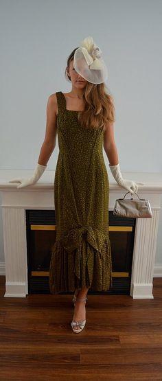 Rare Vintage Dress, Vintage Gown, Vintage Mermaid Dress, 1960s Gown, 1960s Mister D, Green Brocade Dress, Wedding, Cocktail