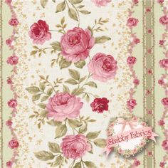 """Elm Creek Quilts: Sarah's Collection 24424-GRE1 By Jennifer Chiaverini For Red Rooster Fabrics: Elm Creek Quilts: Sarah's Collection is a collection by Jennifer Chiaverini for Red Rooster Fabrics. 100% cotton. 43/44"""" wide. This fabric features rows of pink rose stripes. Swatch measures 8"""" X 8""""."""