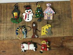 9 Vintage Handpainted Ceramic Christmas Ornaments 1979 #Christmas