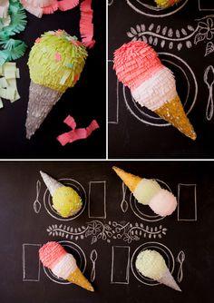DIY Ice Cream Cone Pinatas via Oh Happy Day