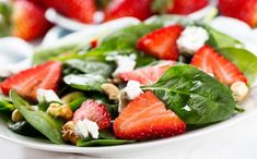 Spinach and Strawberry Salad with Toasted Walnuts and Balsamic Vinaigrette - Kunde Family Estate Recipe Strawberry Balsamic, Spinach Strawberry Salad, Spinach And Feta, Strawberry Recipes, Spinach Salad Recipes, Veggie Recipes, Healthy Recipes, Spinach Smoothies, Kosher Recipes