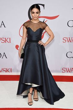 Vanessa Hudgens in a two tone dress at the CFDA awards