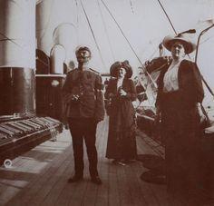 "Tsar Nicholas II of Russia, Princess Eleonore of Solms-Hohensolms-Lich,Grand Duchess of Hesse and Empress Alexandra Feodorovna of Russia aboard the Standart. ""AL"""