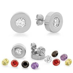 150 Ct Round 6mm Stainless Steel Interchangeable Silver Cubic Zirconia Studs -- Check this awesome product by going to the link at the image.