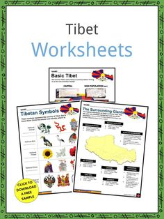 """This is a fantastic bundle which includes everything you need to know about the Tibet across 24 in-depth pages. These are ready-to-use Tibet worksheets that are perfect for teaching students about the Tibet, Tibetan Bod, in full the Tibet Autonomous Region, Chinese Xizang Zizhiqu or Hsi-tsang Tzu-chih-ch'ü, which is a historic and autonomous region of China that is often called """"the roof of the world."""" Tibetan Symbols, Curriculum, Homeschool, Geography Worksheets, Facts For Kids, Prayer Flags, Famous Landmarks, Sign I, Need To Know"""
