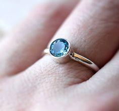Swiss Blue Topaz Ring Faceted Aqua Blue Gemstone by TheSlyFox
