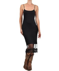 Another great find on #zulily! Black Lace-Hem Spaghetti-Strap Dress - Women & Plus #zulilyfinds