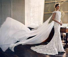 lusan mandongus 2017 bridal cap sleeves bateau neckline full embellishment elegant fit and flare wedding dress lace sheer back chapel train (leonids) mv