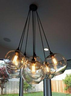 Items similar to Modern Glass Globe Chandelier w/ Edison Lights on Etsy Glass Globe, Rustic Light Fixtures, Globe Light Fixture, Lights, Modern Glass, Glass Globe Chandelier, Chandelier, Edison Lighting, Bubble Lights