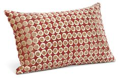 A geometric pattern is block printed by hand to create this exclusive velvet pillow. The cover removes for dry cleaning and the insert is made from durable, high-quality feather and down.