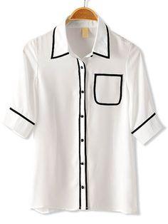 White Half Sleeve Contrast Trims Chiffon Blouse - Sheinside.com