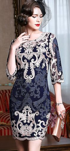 Vintage Embroidered O-Neck Three Quarters Sleeve Bodycon Dress