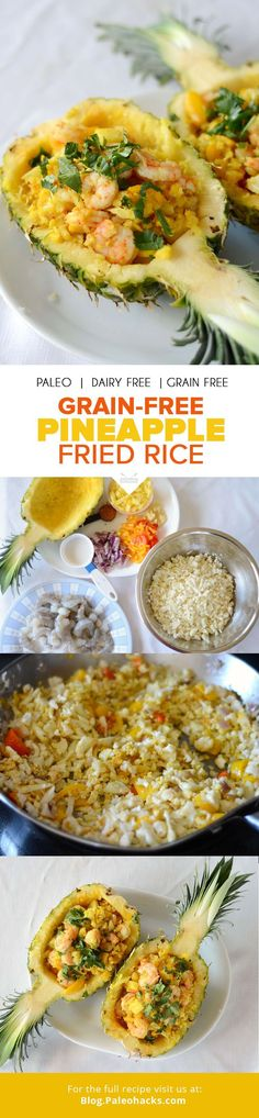 Want a super simple stovetop dinner that tastes fancy? Try this low-carb take on fried rice with shrimp, pineapple, and peppers. It's served in a hollowed-out pineapple for an extra wow factor! For the full recipe please visit us at: http://paleo.co/GrainFreeFriedRice
