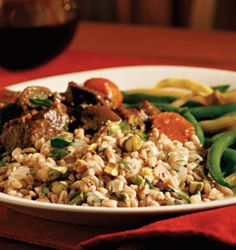 Farro with Pistachios & Herbs (Serves 10) : : : Farro is a high-fiber whole grain that is an ancestor of modern wheat. It is commonly used in Italian cooking and is becoming more popular in the U.S. Cooked barley can be used as a substitute.