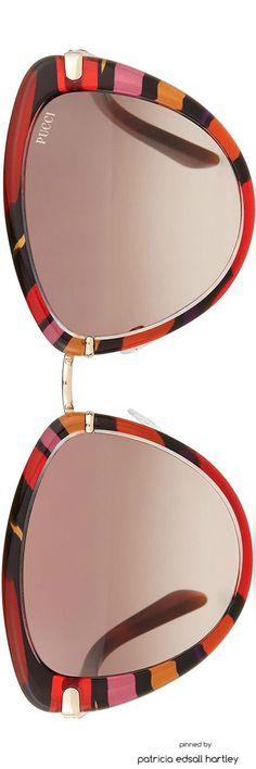 Emilio Pucci Large Printed Cat-Eye Sunglasses