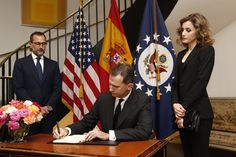 King Felipe and Queen Letizia of Spain sign book of condolences for the Orlando victims at Madrid's US Embassy