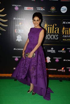 Vision in Violet..  In a brilliant and mildly voluminous violet own, Genelia stole the show with her bright smile. With a laser cut floral hemline and a charming updo, she rocks the purple look and we can't take our eyes off her... Get the look at https://www.estrolo.com/whatstrending/vision-in-violet/