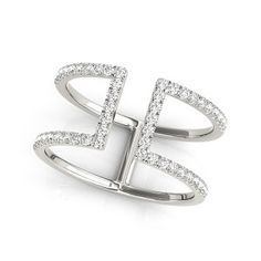 14k White gold  3/8 CTW Double Bar Diamond Ring