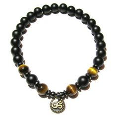 Be Prosperous - Tiger's Eye and Matte Black Onyx Positive Energy Bracelet with Ohm Charm | Edgy Soul