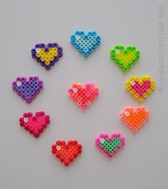 Perler Beads Hearts – Origami Tutorials Perler Bead Designs, Easy Perler Bead Patterns, Melty Bead Patterns, Hama Beads Design, Diy Perler Beads, Perler Bead Art, Pearler Beads, Fuse Beads, Beading Patterns