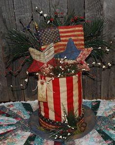 DIY--flat plate/lid...paint can with stripes glue on top....decorate...  (Olde Annie Primitives)