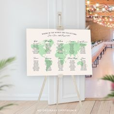 World Map Seating Chart Watercolour Style Table Plan Where | Etsy 1st Anniversary Gifts, Warehouse Wedding, Table Names, Travel Themes, Seating Charts, Travel Gifts, Table Plans, Wedding Stationery, Watercolour