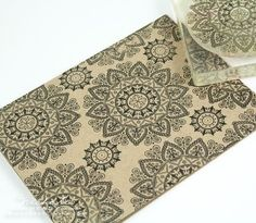 The kraft card front was stamped with the gorgeous Mehndi Medallion using True Black ink.