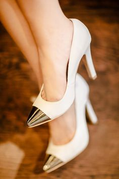 Morpheus Boutique  - White Metal Toe Cap Celebrity Heels Shoes