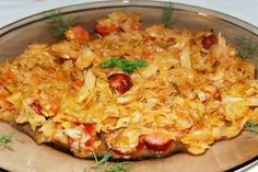 Cabbage and sausages Baby Food Recipes, Cooking Recipes, Food Baby, Cabbage And Sausage, Romanian Food, Romanian Recipes, Your Recipe, No Cook Meals, Macaroni And Cheese