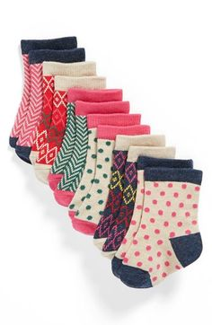 Nordstrom Baby Crew Socks (Baby Girls) (6-Pack) available at #Nordstrom - too cute!