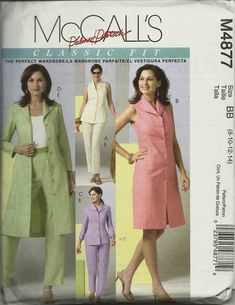 McCall's 4877 Misses Top Dress Duster and Pants Size Sleeveless Duster, Perfect Wardrobe, Princess Seam, Dusters, Summer Wardrobe, Doll Clothes, Sewing Patterns, Vogue, Summer Dresses