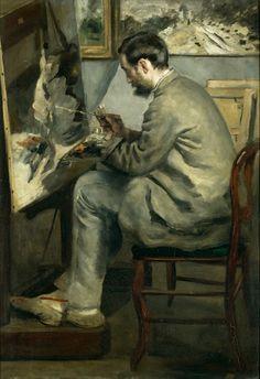 """Frédéric Bazille painting 'The Heron"" ""Frédéric Bazille painting' The heron with wings"" (1867)  By Pierre-Auguste Renoir, French Artist (1841-1919),  oil on canvas; 105 x 73.5 cm"