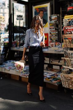 White sunnies, blue and white pinstriped button down with rolled cuffs, black midi pencil skirt, and black heels