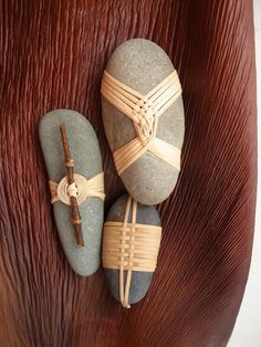 Japanese Basketry Knots. Cane Wrapped Rocks by Basketeer. (Art is a Way)