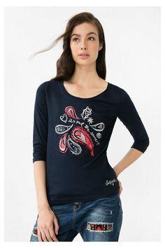 T-shirt bleu à motif cachemire - Natalie | Desigual.com H