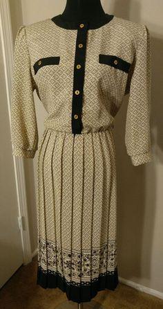 $26.20! Breli Originals 14 Khaki Dress Floral Black White Secretary Career Vintage 80's #Breli #Business
