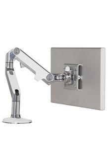 Humanscale Monitor Height Adjustable Desk Mount Finish: Polished Aluminum with White Trim, Base Type: Bolt-Through Gadgets, Best Computer, Adjustable Height Desk, Desk Pad, Ipad Stand, White Trim, Black Trim, E Design, Design Ideas
