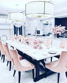Dining room furniture ideas that are going to be one of the best dining room design sets of the year! Get inspired by these dining room lighting and furniture ideas! Dining Room Sets, Pink Dining Rooms, Elegant Dining Room, Luxury Dining Room, Dining Decor, Dining Room Lighting, Dining Room Design, Dining Furniture, Luxury Furniture