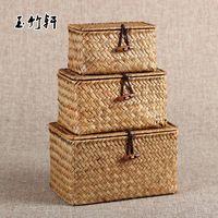 Paja hechos a mano piezas de la caja de té paquete acabado cuadro de té Kung Fu portátil de almacenamiento