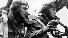RAF pilots in a Lancaster bomber.