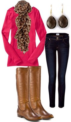 Pink shirt (sweater), leopard scarf, skinny jeans brown boots