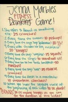 Jenna Marbles workout, there's not enough time to finish one task before the other starts. Hahaha