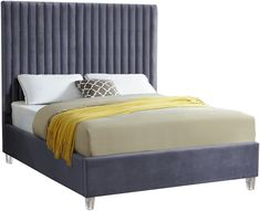 Meridian Furniture Candace Gray Modern gray velvet fabric bed w/ platform Elegant and eye-catching, the Grey Bedding, Luxury Bedding, Bedding Sets, King Beds, Queen Beds, Grey Velvet Bed, Meridian Furniture, Upholstered Platform Bed, Adjustable Beds