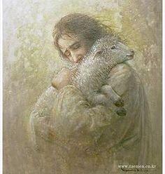 The found lamb.  yongsung kim painting | PAINTING